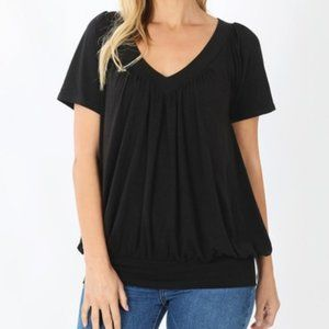 Black Soft V-Neck Short Sleeve Shirt